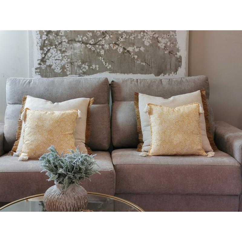 Fundas Cojín decorativo amarillo ocre Flores Borlas y Cremallera, Cama, Sofá | Liberty Blue