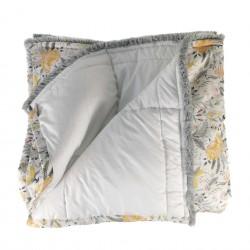 Plaid Manta acolchada estampada ocre gris pie de cama 135-150 | Yellow Party