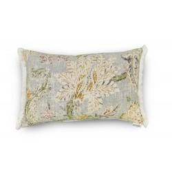 Funda cojín gris estampado floral verde fleco lateral blanco 60X40. | Garden