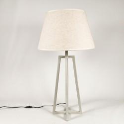 Lámpara mesa metal beige decapado 25x25x62 pie trípode, Pantalla no incluida