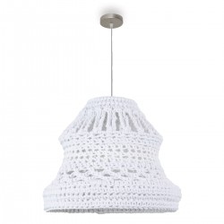 Lámpara techo colgante tela blanco roto 55x120