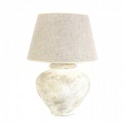 Lámpara mesa cerámica 60x45x60 blanco roto decapado pantalla incluida