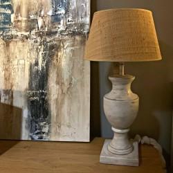 Lámpara mesa grande madera maciza 17x53 blanca decapada