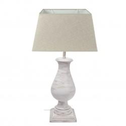 Lámpara mesa madera maciza 55x18 blanca decapada