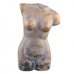 Estatua Busto Mujer Gris-Oro (L) 41X23X81 cm