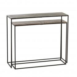 Set 2 Consolas rectangular Aluminio Negro-Oro Tapa Cobre 100X29X83 cm