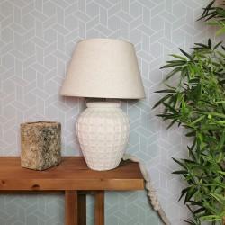 Lámpara mesa 45x66x45 cerámica blanco roto pantalla incluida