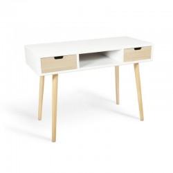 Mesa de escritorio 2 cajones estilo nórdico en color blanco con cajón y patas en color natural 110x76x48