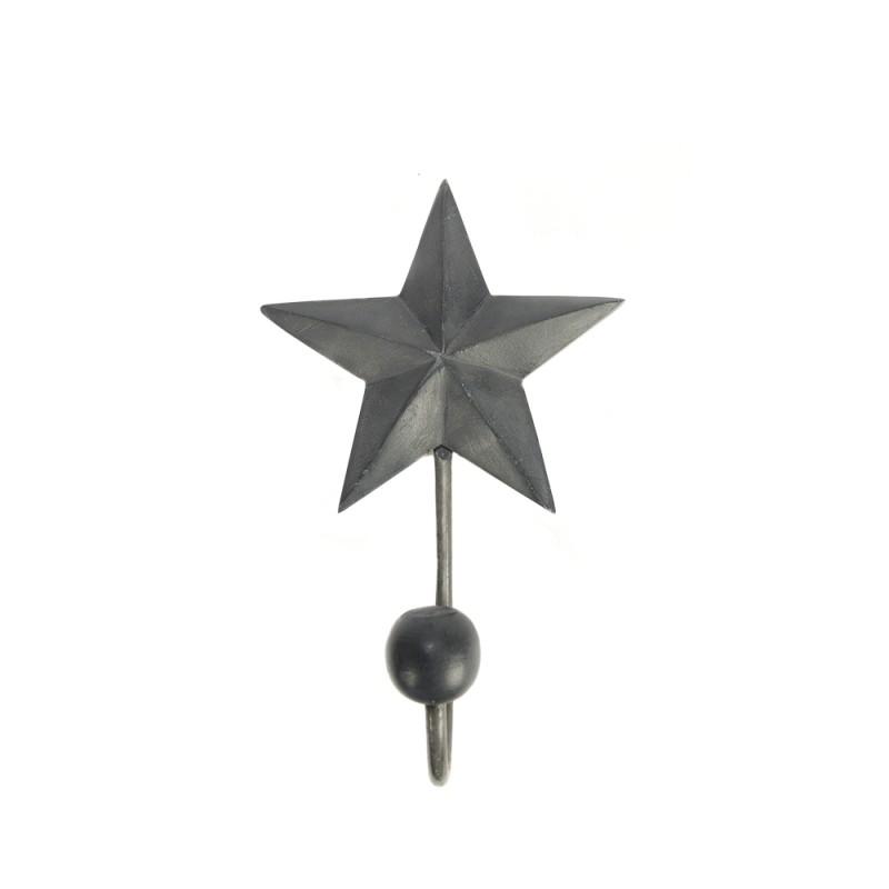 PERCHERO COLGADOR PARED METAL ESTRELLA GRIS 1 GANCHO 163X20