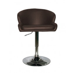 BUTACA GIRATORIA ELEVABLE PIEL MARRON BASE METAL